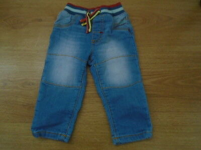 1 Baby boys denim jeans with ribbed elasticated waist, NUTMEG, 3-6 months