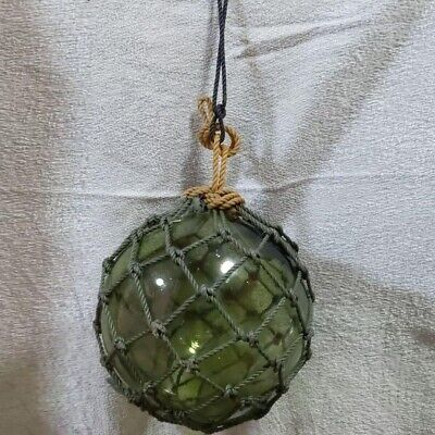 """Vintage Fishing Net Float Glass Ball 9.8"""" Diameter With Rope"""