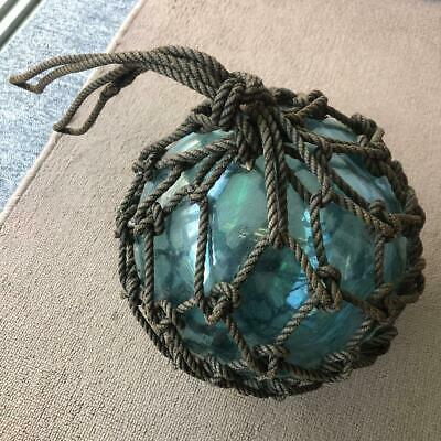 """Vintage Fishing Net Float Glass Ball From Asia Area. 9.1"""" Diameter With Rope"""