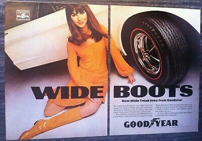 1967 2 Original Vintage Print Ads Lot Good Year Wide Boots red & white walls