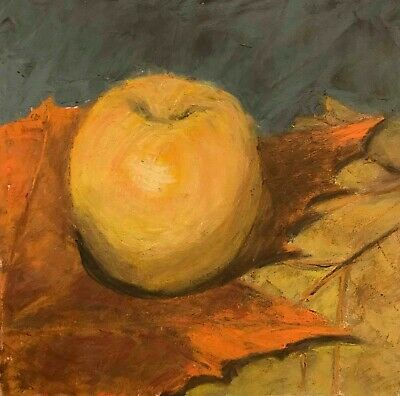 Autumn Harvest, Painting a Day, pastel, Susan Singer, apple, fall leaves,Fall