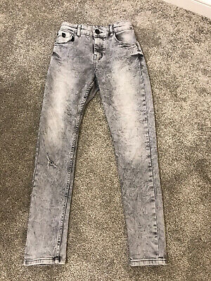 Boys Light Grey Stone Wash Skinny Jeans With Ripped Knee Age 12 Years From Next