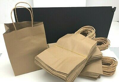 "75 Handled Kraft Brown Paper Party/Shopping/Gift/DIY 10 1/4"" x 8"" x 5"" Med Bag"