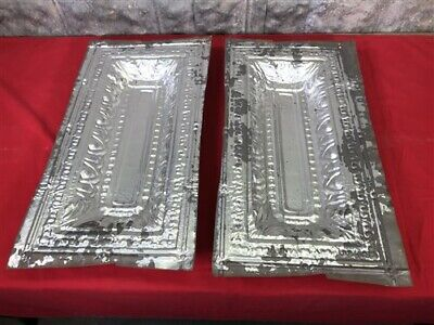 2 Ceiling Tin Panels, Vintage Reclaimed Molding, Architectural Salvage A18,