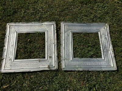 2 Ceiling Tin Panels, Vintage Reclaimed Molding, Architectural Salvage A23,
