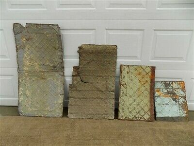 4 Ceiling Tin Panels, Vintage Reclaimed Molding Pieces, Architectural Salvage X