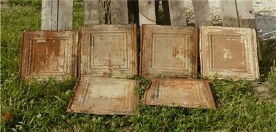 6 Ceiling Tin Panels, Vintage Reclaimed Molding Pieces, Architectural Salvage M,