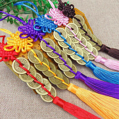 1x Chinese Knot Feng Shui Wealth Success Copper Coins Lucky Charm Home Car DZDD