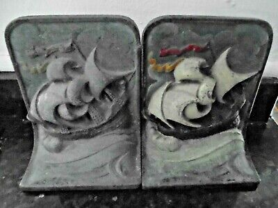 A Lovely Vintage Cast Metal Pair Of Galleon Bookends