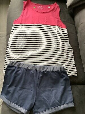 Women Vest Top And Shorts Size M Pink