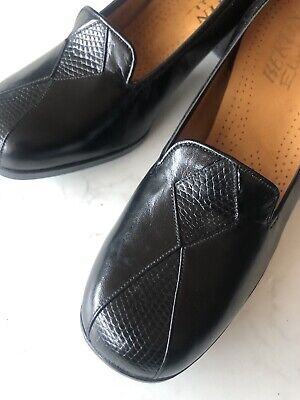 Vintage 1970s French Leather BERTIN Shoes BNIB Sz 4 37 Black Snakeskin Downton