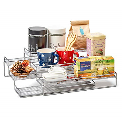 EZOWare 3 Tier Expandable Wire Spice Rack, Step Shelf Storage Cupboard Organiser