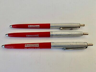 Vintage Lot Of 3 Des Moines, Iowa Firestone Tires Plant Advertising Sign Pens.