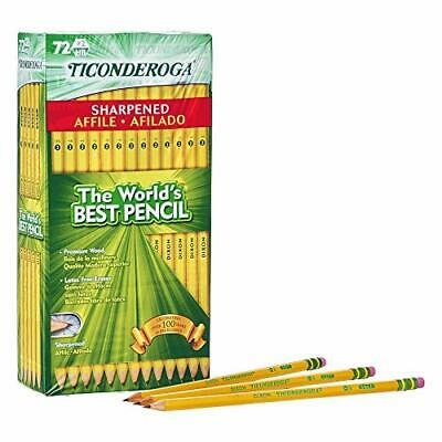 TICONDEROGA Pencils, Wood-Cased #2 HB Soft, Pre-Sharpened with Eraser, Yellow, 7