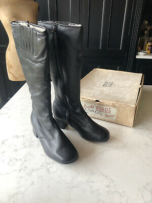 VINTAGE JOYLAND BOOTS BNIB 1970's BLACK LEATHER Knee High Fur Lined 4 37