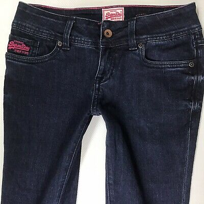 Ladies Superdry Super Skinny Dark Blue Faded Jeans W26 L32 (722e)