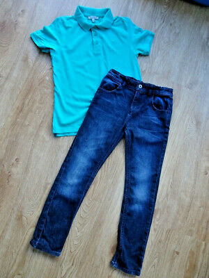 M&S boys 2 pack jeans & polo t shirt top AGE 9 - 10 YEARS EXCELLENT