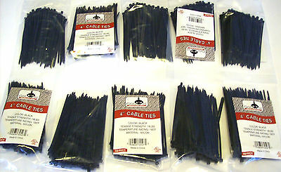 "1000 Goliath Industrial 4"" Black Wire Cable Zip Ties Nylon Tie Wraps Wholesale"