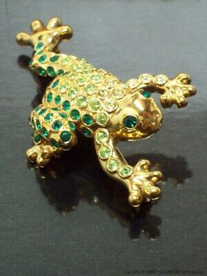 Vintage Signed Monet Green Rhinestones Frog Pin Jumping Leaping Gold Tone Brooch