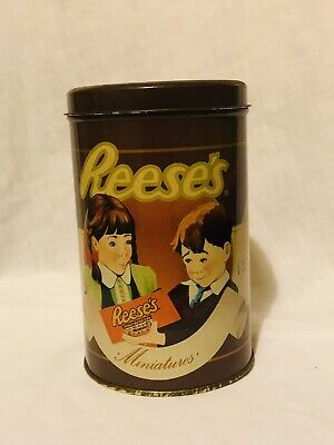 Vintage 1989 Reese's Peanut Butter Cups Miniatures Tin Advertising Canister Jar