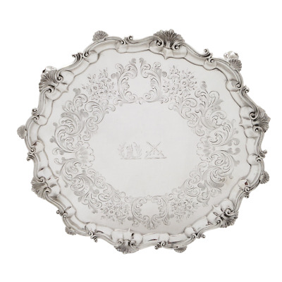 """Antique Victorian Sterling Silver 13"""" Tray/Salver - 1850"""