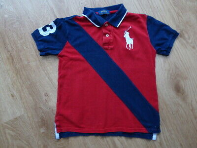 RALPH LAUREN POLO boys red navy t shirt top AGE 6 - 7 YEARS