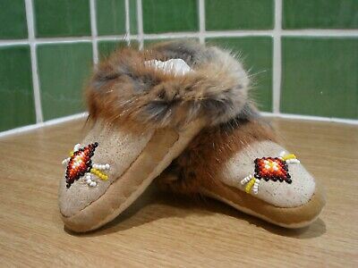 Native American Infant Handmade Mocassins with Bead Work