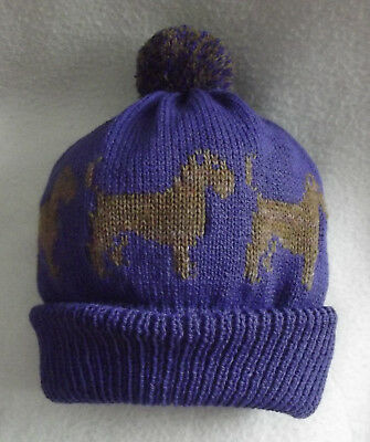BORDER TERRIER dog on NEW knitted PURPLE LADIES POMPOM BOBBLE hat