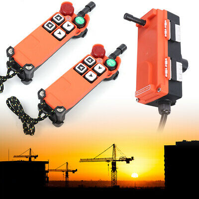 2 Transmitter + 1 Receiver Wireless Crane Remote Control 4 Keys IP65 Protection