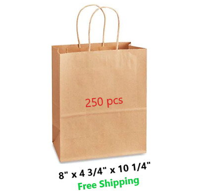 "250 Kraft Paper Gift Bags Bulk with Handles 8""x4.75""x10.25"" Paper Shopping Bags"