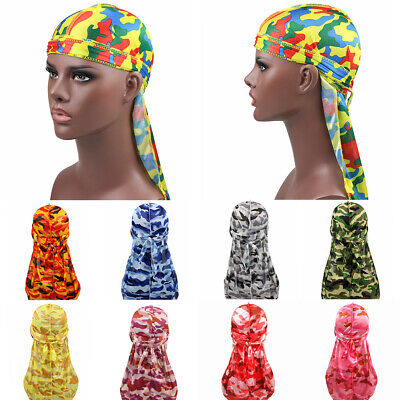 N D Military Camouflage Silky Durag Waves Pirate Caps Bandana Beanie Hat Turban Headwraps with Long Tail for Men and Women