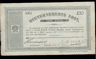 SOUTH AFRICA  10 POUNDS 1900  GOVERNMENT NOTES  PICK #  56b VF.