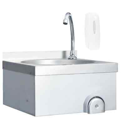 vidaXL Commercial Hand Wash Sink with Faucet Soap Dispenser Stainless Steel