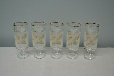 Itay made Frosted Slender Gold Wheat Cocktail Glasses set of Five