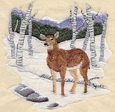 Large Embroidered Zippered Tote - Whitetail Deer Winter A9367