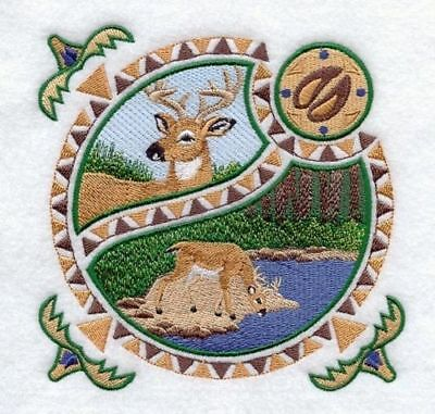 Large Embroidered Zippered Tote - Deer Shield A4831