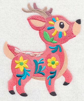 Large Embroidered Zippered Tote - Flower Power Baby Deer M7021