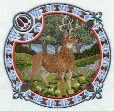 Large Embroidered Zippered Tote - Whitetail Deer Autumn A9365