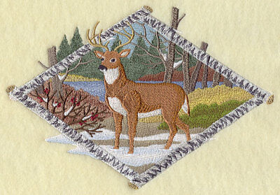 Large Embroidered Zippered Tote - Birch Bark Diamond Deer F6933