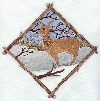 Large Embroidered Zippered Tote - Winter Whitetail Deer Diamond C7304