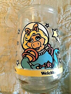 Vintage Welch's Jelly Glass Jar Muppets In Space #2 Miss Piggy A Shinning Star