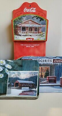 Coca Cola Jim Harrison Collection. Key/Mail Caddy and 2 Hanging Art Prints