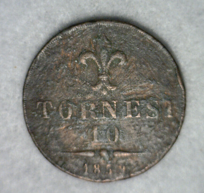 ITALY NAPLES AND SICILY 10 TORNESI 1859 COIN ( stock# 643)