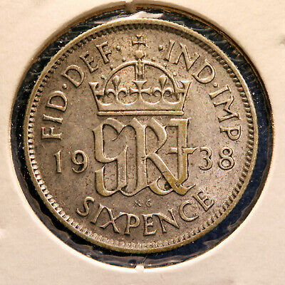 Silver coin - Great Britain, 6 Pence, 1938, KM-852, AU condition