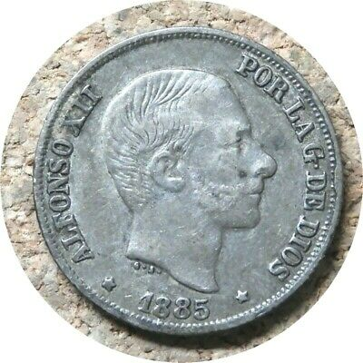 elf  Philippines Spanish 10 Centimos 1885  King Alfonso XII  Silver