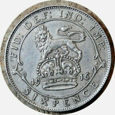 elf Great Britain 6 Pence 1916  George V  Silver