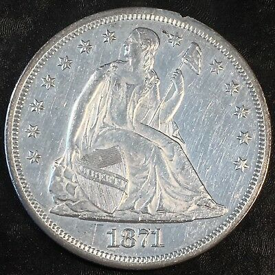 1871 Seated Dollar - Uncirculated Details - High Quality Scans #H256