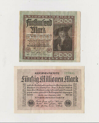 US/Canada 2 Paper Money 1922+1924 Germany