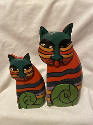 Set of 2 painted carved sculpted wood Cat figures wooden kitty figurines