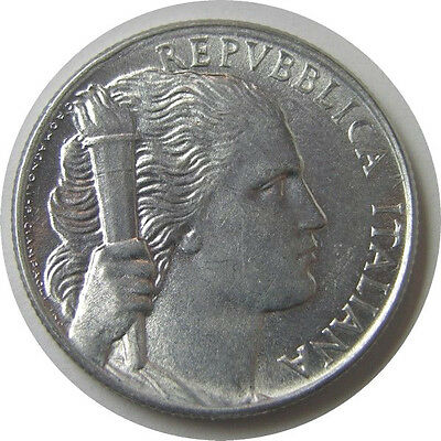 elf Italy 5 Lire 1949 Bunch of Grapes  Woman  Holding Torch